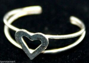 Sterling Silver Ring Toe Finger Wire Open Rings With Heart Pendant