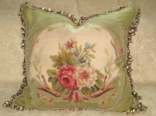 "HUGE & BEAUTIFUL 19TH C  ANTIQUE FLORAL AUBUSSON TAPESTRY PILLOW 26"" X 27"" #2"