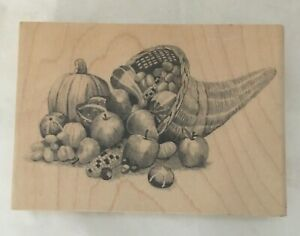 Inkadinkado Cornucopia Thanksgiving Sketched Rubber Stamp Fall Harvest 3 X 3.5