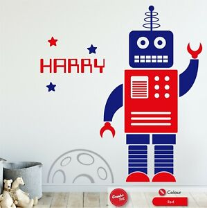 Robot Personalised Wall Sticker Children's Bedroom Boys Space Large Vinyl Decal