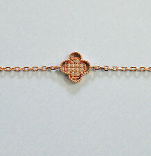 Crystals CZ Sterling Silver Red / Yellow /White Gold Plated Luck Clover Bracelet