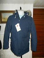 Veste chaude Parka Meyland capuche fourrure JACK & JONES bleu marine S/48