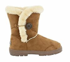 Women's Ella Nina Faux Sheepskin LOOK Fur Lined Low Warm BOOTS Chestnut UK 5