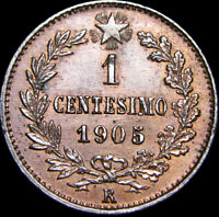1905-R 1 Centesimo Italia Italy Foreign Coin 1C -- GEM BU++ Condition -- #Z644