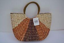Damen Tasche Korbtasche Strandtasche Strandkorb Schultertasche Gefüttert Natur