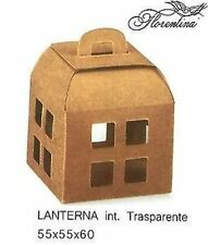 Scatola Bomboniera Lanterna int. Trasparente Avana 55x55x60mm  10 pz art 35491