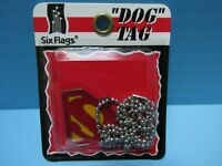 "SUPERMAN SIX FLAGS DOG TAG WITH ""S"" LOGO &  26"" BALL CHAIN - NEW IN PACKAGE 1996"