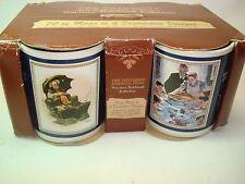 Cup Set Saturday Evening Post Norman Rockwell Coffee Mug Set of 4 Original Box
