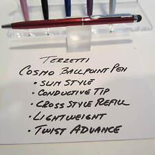 TERZETTI COSMO-RED SLIM BALLPOINT PEN-CONDUCTIVE TOP USE-CROSS STYLE REFILL