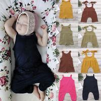 Summer Unisex Newborn Baby Boy Girls Solid Overalls Romper Jumpsuit Clothes 2Y P