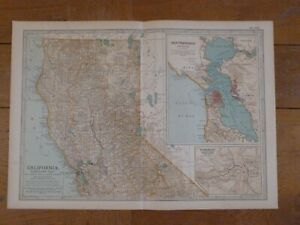 Antique Map NORTHERN CALIFORNIA 1903 USA United States of America San Francisco