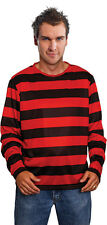 #RED AND BLACK STRIPED JUMPER HALLOWEEN HORROR FANCY DRESS TOP SHIRT ADULT