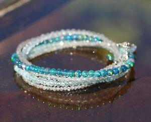 Natural Labradorite Black Opal Long Necklace Wrap Bracelet Solid 14K White Gold