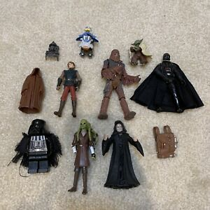 Mixed Lot of Star Wars Toy Action Figures Parts Darth Vader Yoda Palpatine Fisto