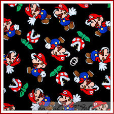 BonEful Fabric FQ Flannel Super Hero Mario Brothers Nintendo Wii Game Boy Comic