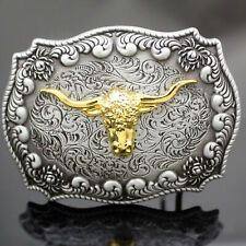 Men Vintage Western Silver Metal Engraved Gold Bull Rodeo Cowboy Belt Buckle AU