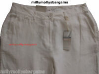 New Womens Marks & Spencer White Linen Chino Trousers Size 20 18 16 14 12 10