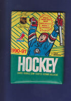 Unopened Pack (7 cards) 1990-91 O-PEE-CHEE OPC NHL Hockey Wax Pack (GUM) (MINT)