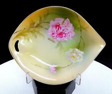 """PSAG BAVARIA MAUVILLE SIGNED PINK AND WHITE FLORAL 7 3/8"""" RELISH DISH"""
