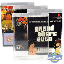 3 x PS2 Double Game BOX PROTECTORS for PlayStation 2 0.5mm PLASTIC DISPLAY CASE