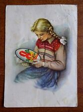 1961 Russian soviet vintage postcard USSR 8 March young girl embroiders Dostyan