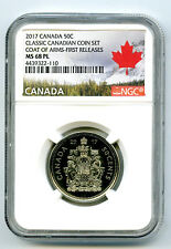 2017 CANADA CLASSIC 50 CENT COAT OF ARMS HALF DOLLAR NGC MS68 PL PROOF LIKE RARE