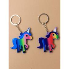Pack of 2 Unicorn Design Plastic Keyrings Party Bag Fillers Keychains Kids