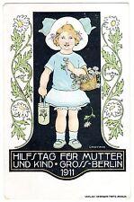 POSTCARD GERMAN 1911 BERLIN MOTHER & CHILD AID SIGNED GRAFFMAN