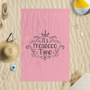 """58x39"""" It's Prosecco Time Pink Microfibre Beach Towel Summer Holiday Gift"""