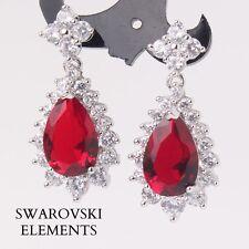 Boucles d'oreilles plaqué or blanc goutte d'eau  Swarovski® Elements rouge