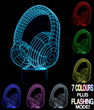 Optical Illusion 3D Lamp Headphones  *Colour Changing 7 Colours*