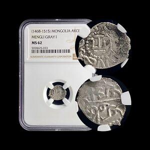 1468 Crimea Akce (Silver) - NGC MS62 - Mengli Giray I - Qirq-Yer Mint