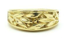 14k Solid Gold Vintage Band Art Nouveau Olive Leaf Carved Ring Sizable Free SH e