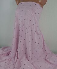 1 m Baumwoll Ringel Jersey *Anker*, 14,40 €/m, rosa weiß