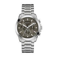 Bulova Men's Quartz Chronograph Gray Dial Silver Tone Bracelet 40mm Watch 96A180