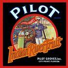 City Point Florida Pilot Brand Indian River Orange Fruit Crate Label Art Print