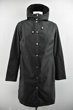 ILSE JACOBSEN Raincoat Womens Waterproof Long Coat Hooded Black Jacket Size M