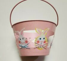 MINI METAL PINK EASTER/HOLIDAY BASKET WITH BUNNY FACES