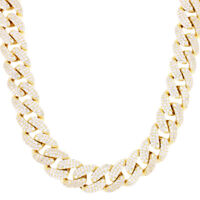 Iced Miami Cuban Link 925 Sterling Silver Gold Plated Solid 15mm Box Lock Chain