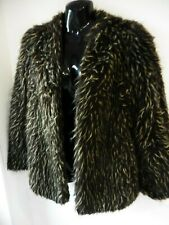 TOPSHOP KATE MOSS BROWN MIX FAUX FUR JACKET SIZE UK 10 LINED
