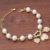 Women Jewelry Pearl Love Heart Flower Crystal Bracelet Bangle Fashion Charm Gift