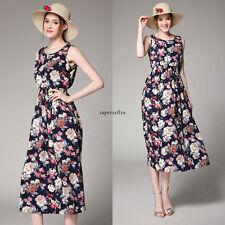 Vintage Summer Women Empire Waist Tunic Party Long Maxi Dress Sundress Black XL