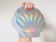 Mermaid Oyster Clam Pearl Harajuku Kawaii Hologram Metallic Silver Bag Handbag