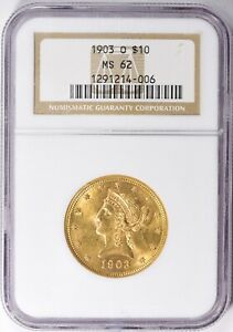 1903 O $10 LIBERTY HEAD GOLD EAGLE  * NGC MS62 * STUNNING BETTER DATE