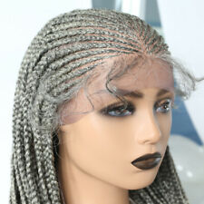 """Hand Tied Lace Front Cornrow Box Braided Wig Baby Hair Lightweight Synthetic 28"""""""