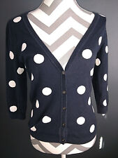 Banana Republic Womens Cardigan Sweater 3/4 Sleeves Black White Polka Dots
