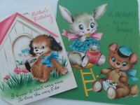 2 Vtg 40-50s MOMMY PUPPY Pipe Cleaner Tail & Bunny Bear BIRTHDAY GREETING CARDS