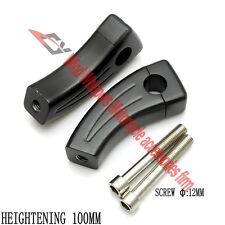 """Black 1""""25mm CNC Handlebar Riser For Harley Davidson Kawasaki Yamaha Honda 10CM"""