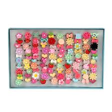 100pcs Cute Flower Kid Girl Cartoon Plastic Rings Wholesale Blue Square Box Gift