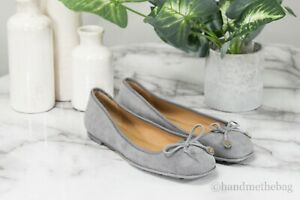 Tory Burch (50945) Laila Carbon Grey Suede Driver Bow Ballet Flat Slip On Shoes